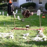 New this year.  A corpse on a revolving rotisserie.  We even used a rotisserie motor to power it.