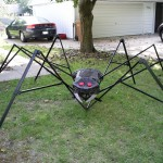 This spider was made from the frame of an old popup picnic tent.