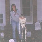 My sister posing next to one of the skeletons