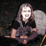 Sabrina with her tombstone